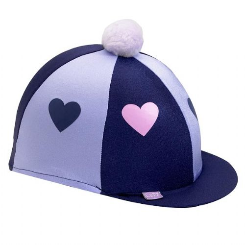 Capz Lycra Heart Hat Cover with Pom Pom in Navy/Lilac